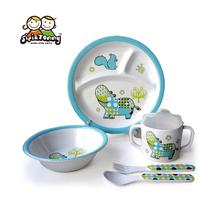 Дети 5 шт. комплект посуды бегемота дизайнер меламина блюда 3-compartment чаша сиппи кубок посуда для мальчика подарки сиси и томми