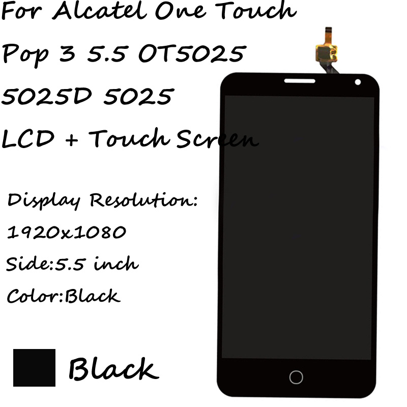 LCD+TP For Alcatel One Touch Pop 3 5.5 OT5025 5025D 5025 LCD Display with Touch Screen Digitizer Smartphone Replacement(China (Mainland))