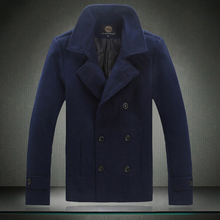 High Quality 2015 Winter New Mens Solid Woolen Blend Short Design Coat Trench Overcoat Plus Size M-3XL 4XL 5XL #6610(China (Mainland))