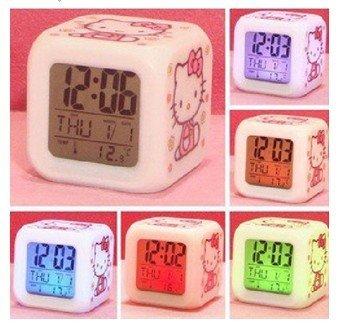 Hotsale+Hello Kitty alarm clock/Cartoon alarm clock/Mute alarm clock/Lovely Voice alarm clock/Free shipping