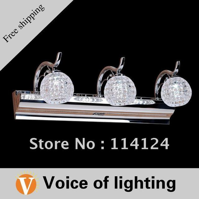 FREE SHIPPING 3*1W K9 top Crystal New Mirror Lighting LED Wall Bathroom Mirror Lamp