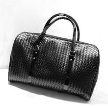 2015 Embossing Knitting Pattern leather travel bag Men women luggage travel bags Duffle Bag maletas de viaje sac de voyage L471(China (Mainland))
