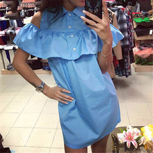 2016 Summer New Fashion Women Blue Ruffles Shirt Dress Casual Butterfly Sleeve Dress Sexy Strapless Straight Loose Dresses(China (Mainland))