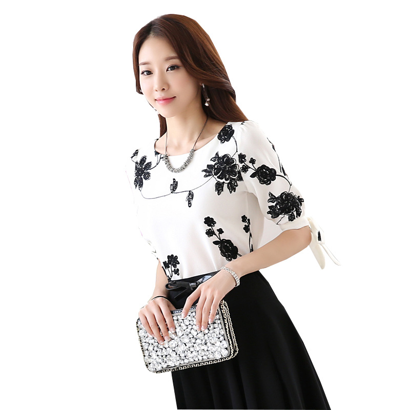 Women Shirts Summer Tops Floral Black Embroidery White
