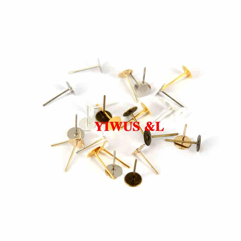 200pcs/lot gold/silver/bronze plated 4mm Iron earring pin /ear wire fir diy earrings findings Jewelry Findings Free shipping(China (Mainland))