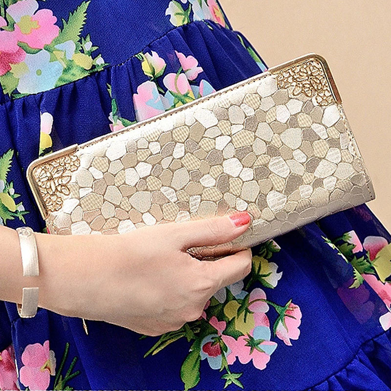 Luxury Famous Brand Clutch Bag Gold Silver PU Leather Female Money Wallets Long Women Purse Women Evening Party Bags Hot 2016(China (Mainland))
