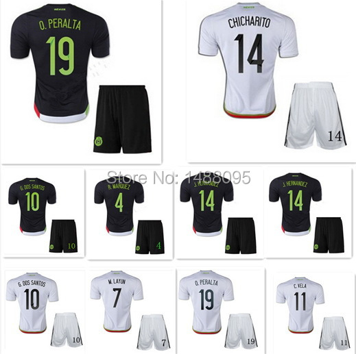 Thai MEXICO set JERSEY 2015 World Cup MEXICO kit Soccer Jersey 15 16 CHICHARITO SANTOS Home Away black white 2016 Football Shirt(China (Mainland))