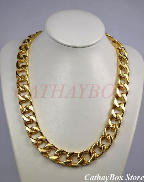 "Men's Chunky Solid Thick All 18KGP Gold Plated Stainless Steel Cuban Curb Chain Necklace 280G 24"" Long 19MM Wide"