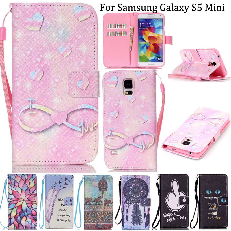 S5 Mini Lanyard Cases PU Leather Cell Phone Case Flip Cover For Samsung Galaxy S5 Mini G800 Wallet With Card Slot(China (Mainland))