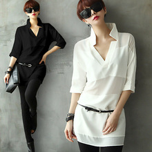 Long Shirt With Belt 2015 Summer Style Black White Women's Chiffon Shirts Plus Size Loose See-through Blouse Tops