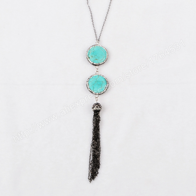 Hot ! vintage necklace Double Round Howlite Turquoise Faceted Beads Tassel Necklace Paved Zircon Black Chain JAB159(China (Mainland))