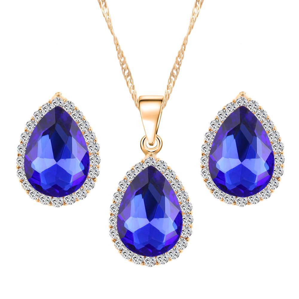 Brand Design Bride 18K Gold Plated Zircon Rhinestones Water Drop Pendant Necklace Earrings african jewelry set For Women joyas(China (Mainland))