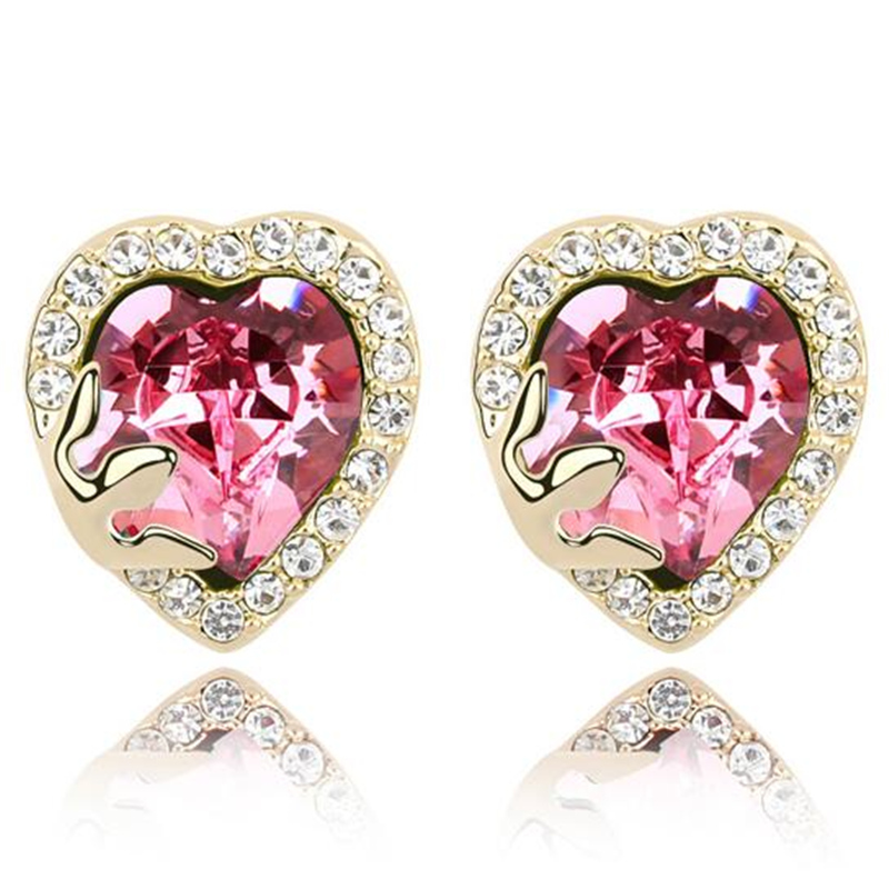 Birthday Gift For Girlfriend Crystal Heart Earrings Gold