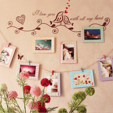 2016 New Arrivals 8pcs 6inch Rectangle Paper Photo Frame Wall Picture Album DIY Hanging Rope Frame Home Decer(China (Mainland))