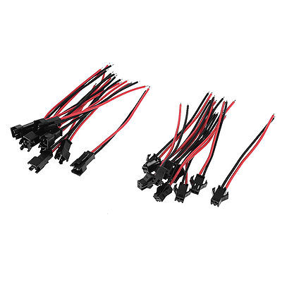 10 Pcs Black Red 8cm Length 2 Pins EL Wire Cable Connectors<br><br>Aliexpress