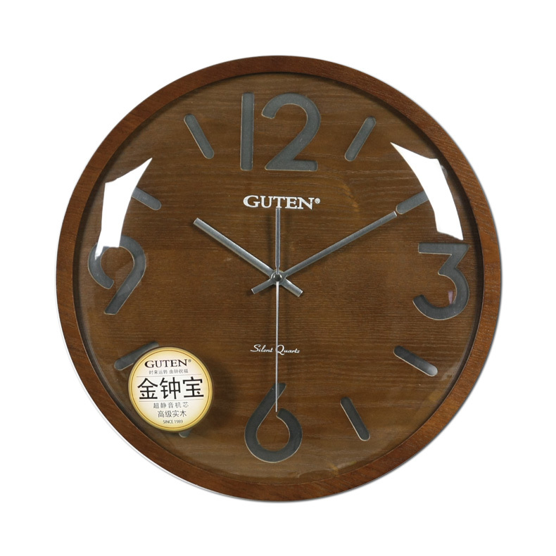 Taiwan golden bell po circular advanced wood wall clock for Living room wall clocks