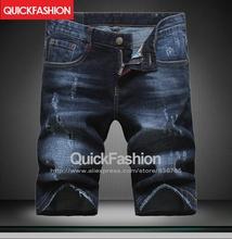 2016 Top quality DSQ Summer Men Short Jeans Man Skinny Jean Fashion Casual Designer Brand Slim Denim Light & Dark Blue pants(China (Mainland))