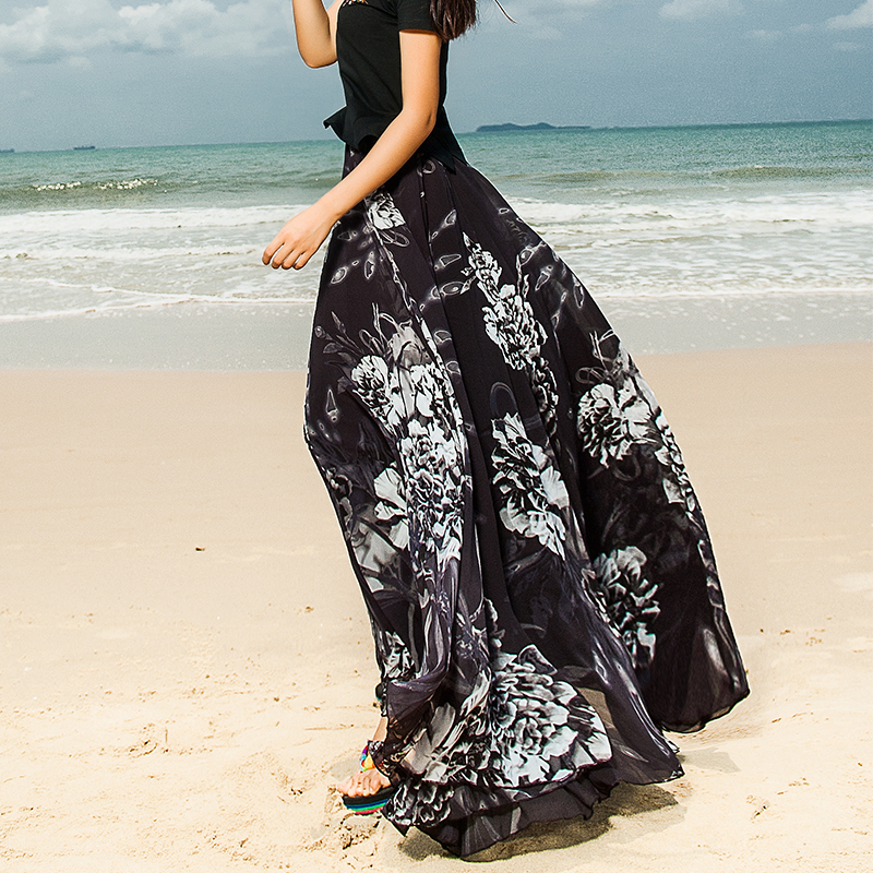 Online Buy Wholesale black skirt flower long from China black ...