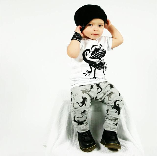 Новый 2016 Лето baby boy одежда мужская хлопок мода монстр футболка + брюки 2 шт. ...