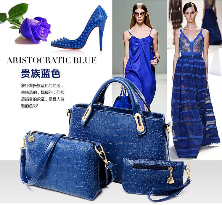 Buy 1 Get 3 Fashion Women Blue Tote Handbags Alligator Leather Handbag Designer Shoulder Messenger Bag Clutch Bags 2014 HQ Gifts - High Fashions CO. Ltd store