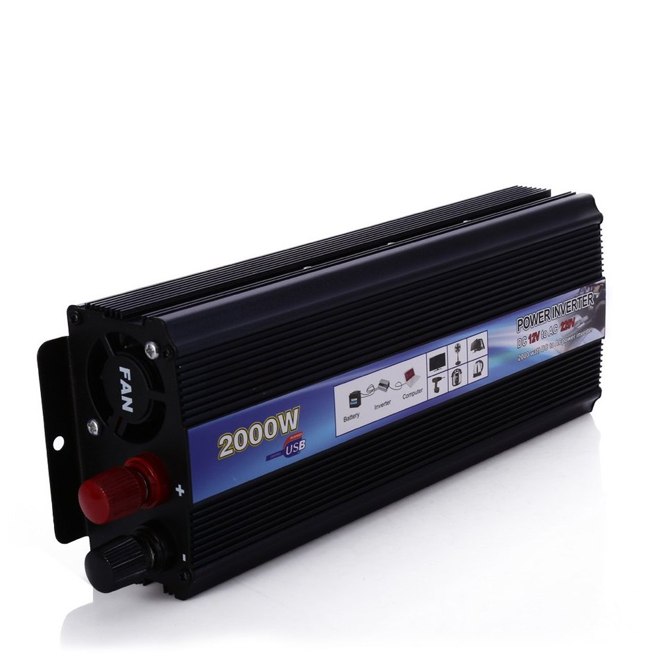 2000W power inverter Car Vehicle USB DC 12V to AC 220V Power Inverter Adapter Converter Black(China (Mainland))