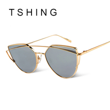 TSHING 2016 New Cat Eye Sunglasses Women Vintage Fashion Rose Gold Mirror Sun Glasses Unique Flat Ladies Sunglasses Oculos UV400(China (Mainland))