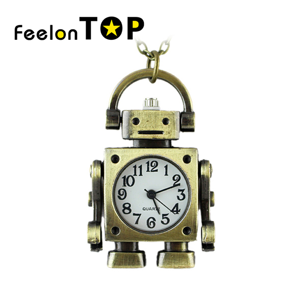Classic Lovely Robot Shape Bronze Color Pendant Brass Pocket Watch With Chain Maxyum Wholesale(China (Mainland))