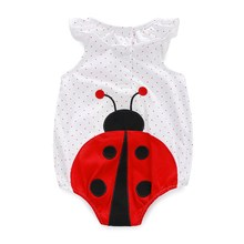 NEW Fashion baby girl lady bug romper summer spring autunm Girls Romper Triangle jumpsuits free shipping(China (Mainland))