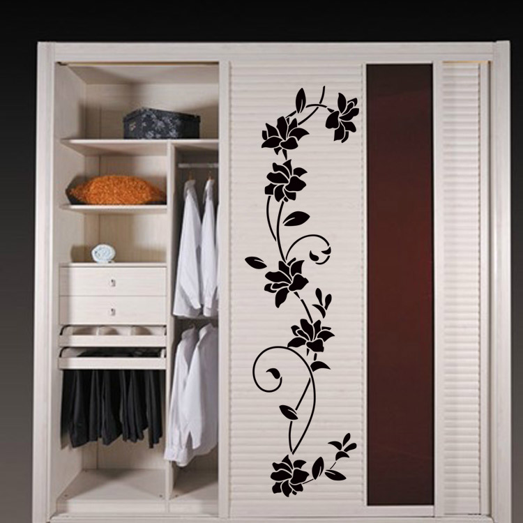 flower vine wall stickers removable home decal living room. Black Bedroom Furniture Sets. Home Design Ideas