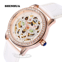 2016 SHENHUA Cool Women's Self Wind Automatic Mechanical Wrist watches Rhinestone Skeleton Waterproof Leather Strap Dress Clock