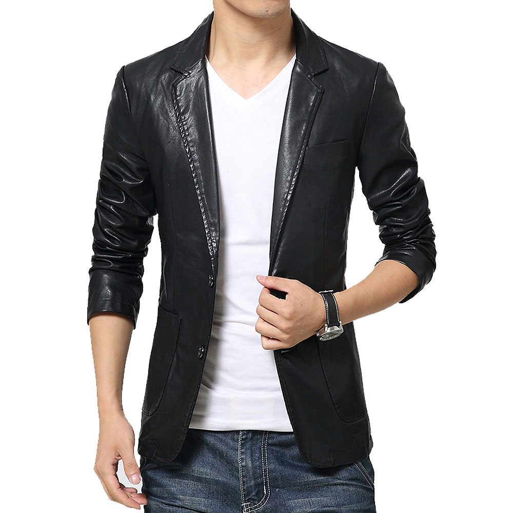 Fashion men's Big size Leather jacket for men casaul slim pu leather Suit Jackets waterproof Blazer coats Asia M - XXXXXXL C495(China (Mainland))