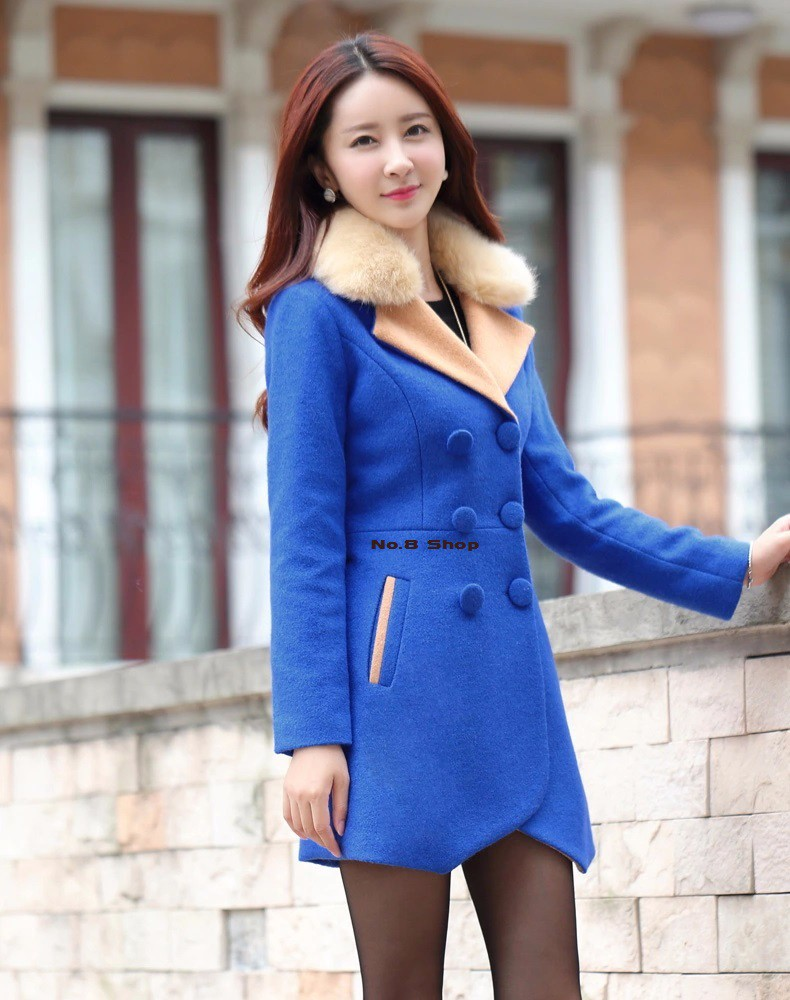 No.8 Shop 2016 New Women Autumn Winter Rabbit Fur Collar High-end Alpaca Coats Female Long Woolen Coats Jackets Wool Blends Girl