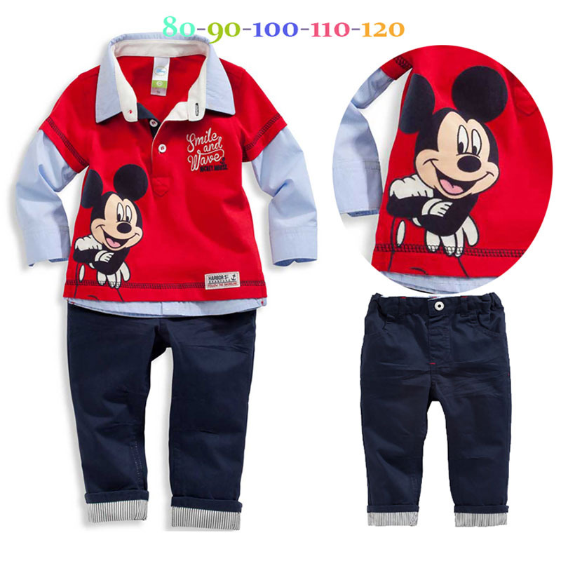 Гаджет  New fashion boys autumn cartoon suits Red lapel fake two long-sleeved shirt +trousers kids casual set children clothing sets None Детские товары