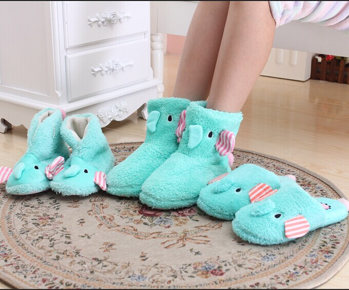 Funny Adult Elephant Slippers Women Home Bots Female