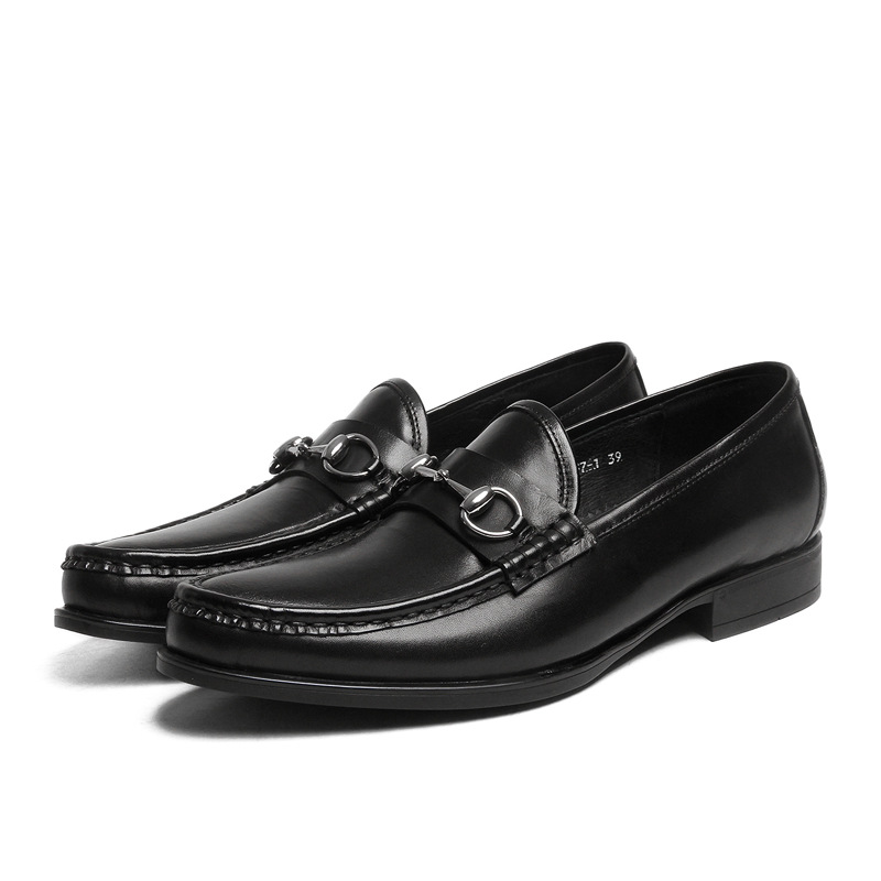 Mens dress shoes trend set foot round daily wear leather shoes black slip-on casual leather shoes men<br><br>Aliexpress