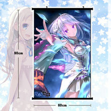 Re:zero Emilia Anime Poster Wall Scroll Mural Home Decor Cartton Gift 80x60cm - yufen2009abc store