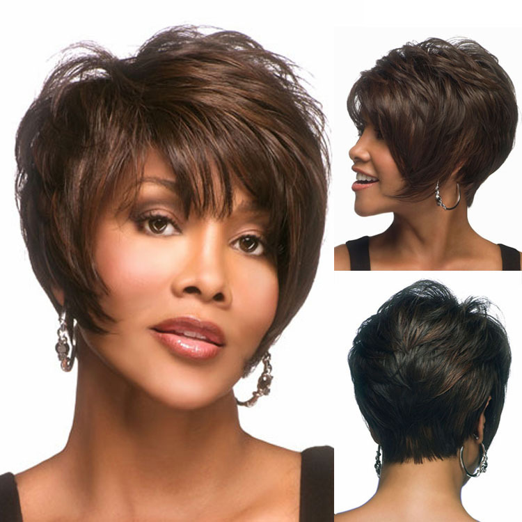 Hairstyle For Black Women additionally Human Hair Wigs Bob With Bangs ...