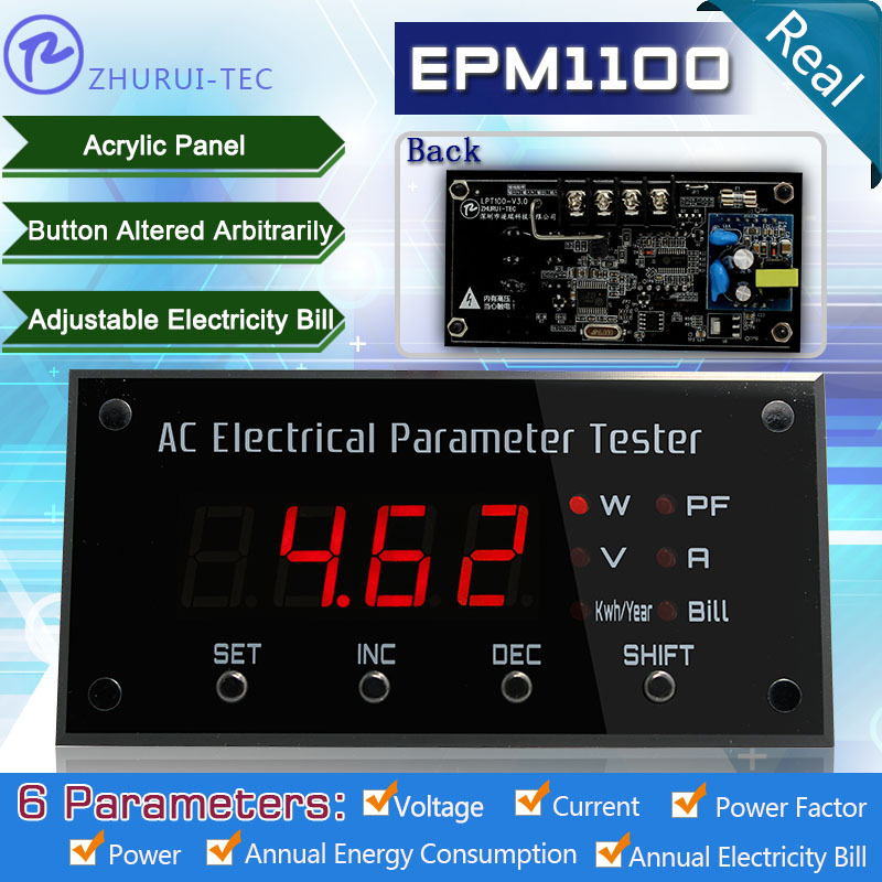 EPM1100 digital panel watt meter swith over display 6 parameters V/A/P/PF/KWH/Cost led demo case meter(China (Mainland))