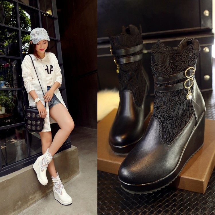 2015 with the newest shoes Female breathable boots lace wedding round toe work crochet boots hollow fashion women ankle boots(China (Mainland))