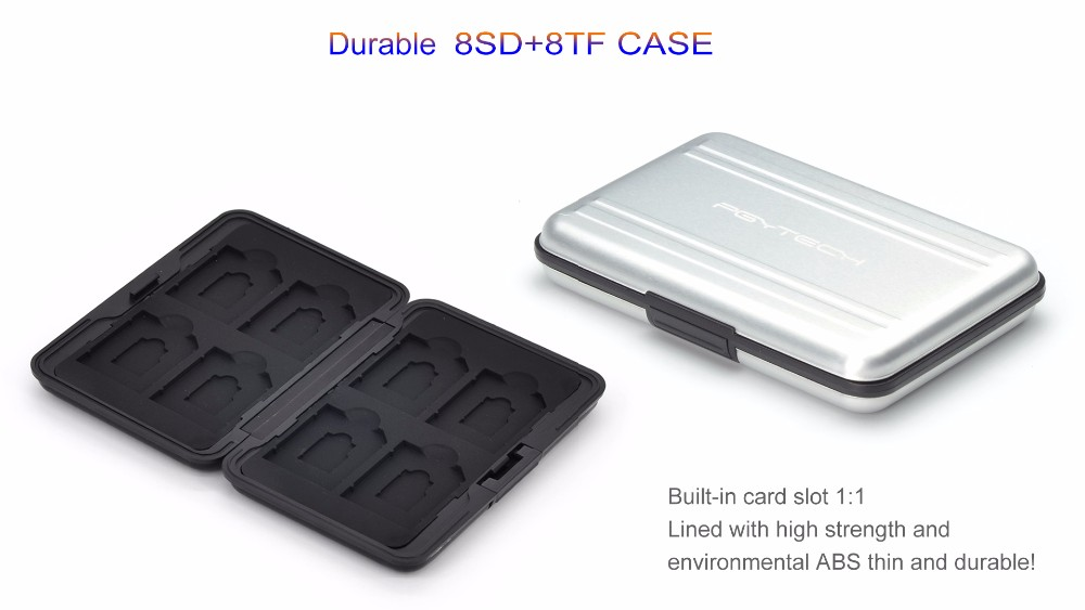 PGY SD SDHC CF Memory Card DJI Phantom 3 4 inspire1 OSMO X5 3 accessories Aluminum Carrying bag Box Case Holder Protector Wallet