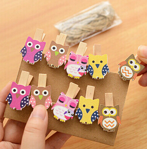 Kawaii Owl Wooden Paper Clips