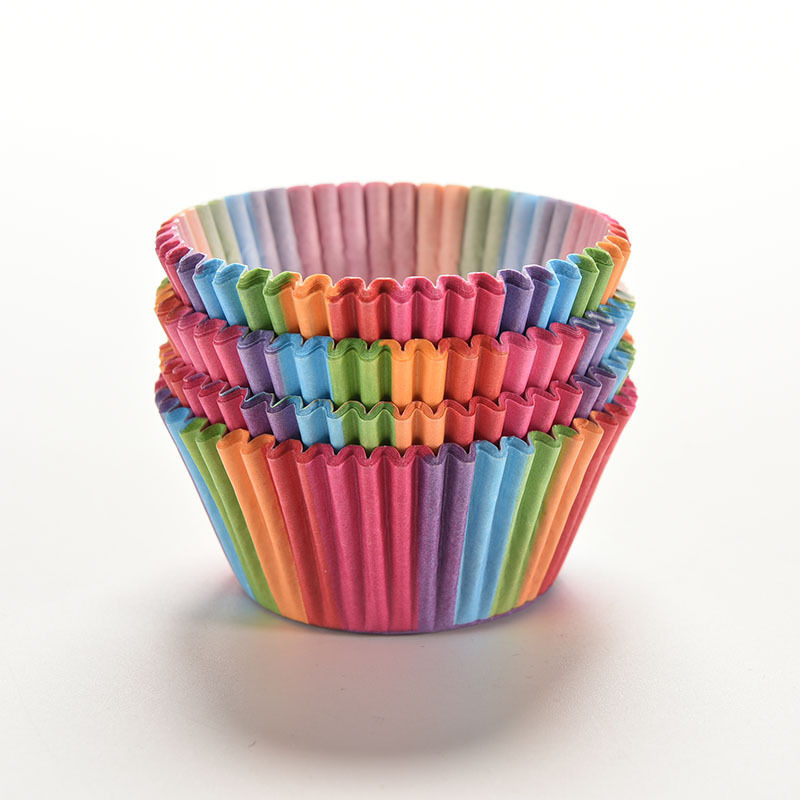 100Pcs Colorful Rainbow Paper Cake Cupcake Liner Baking Muffin Box Cup Case Party Tray Cake Mold Decorating Tools(China (Mainland))