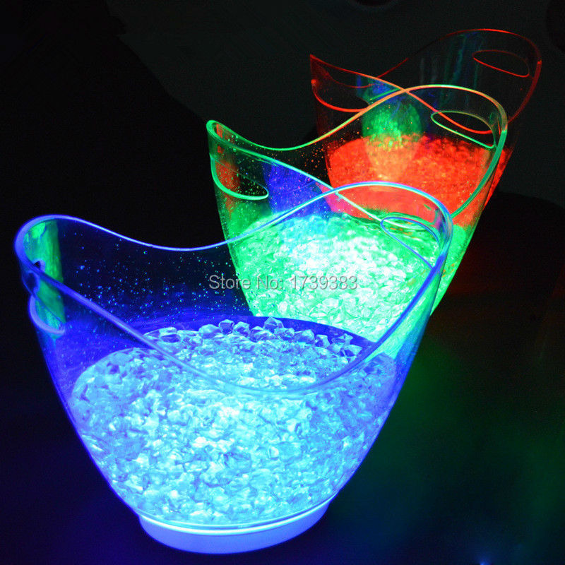 4PCS Lot Red Blue Green White Colors rechargeable huge luminous 8L LED ICE Bucket champagne beer