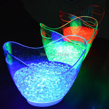 4PCS/Lot Red Blue Green White Colors rechargeable huge luminous 8L LED ICE Bucket champagne beer Wine Coolers Holders lighted