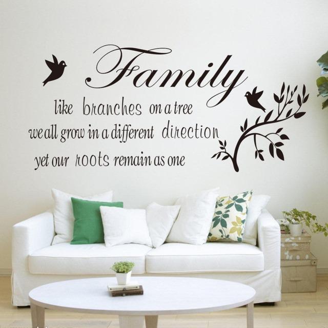 Семья любит отрасль птицы съемный гостиная спальня виниловые наклейки надписи