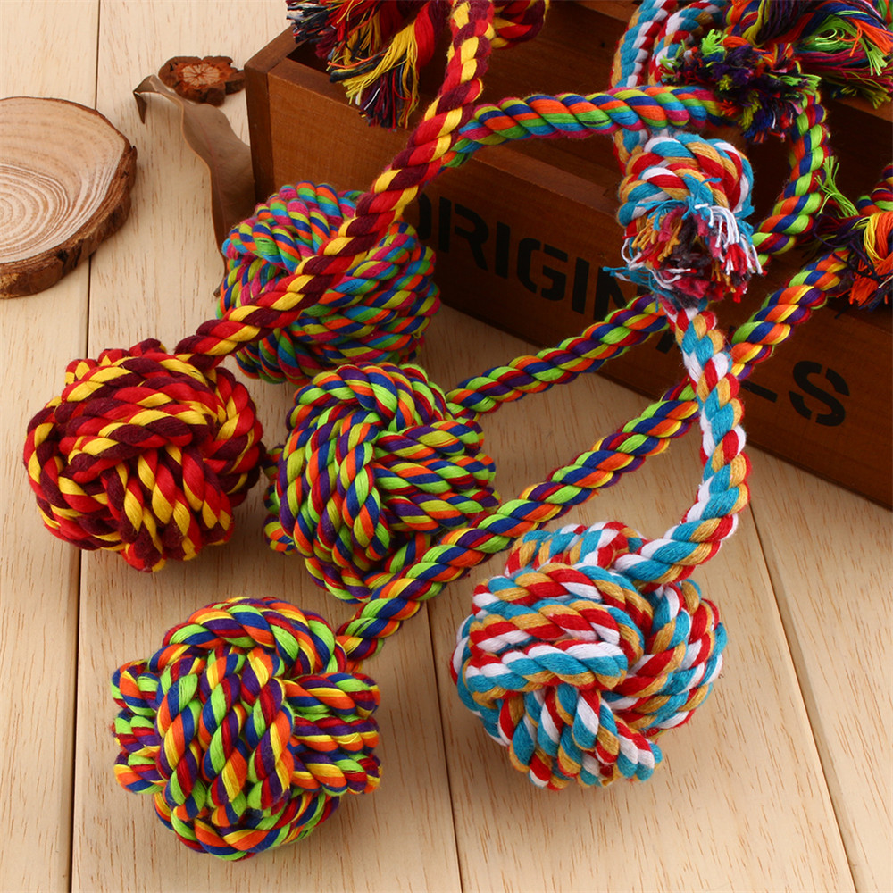 1Pcs Colorful Trendy Pet Puppy Dogs Cotton Ropes Chews Toy Ball Play Braided Bone Knot For Fun(Hong Kong)