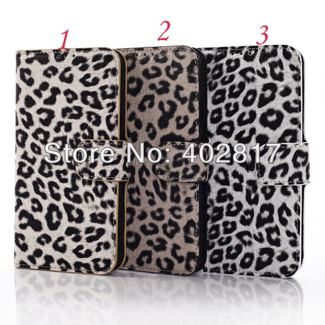 10pcs/lot Leopard PU Leather Wallet Case for Samsung Galaxy S5 i9600 Credit Card Holder Flip Cover China post air Shipping