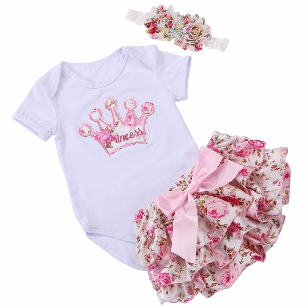 Short Sleeve Crown O-neck Pullover Newborn Baby girl Clothing Set,Infantil Menina Clothes Com Toddler Outerwear Costume #7B3009(China (Mainland))