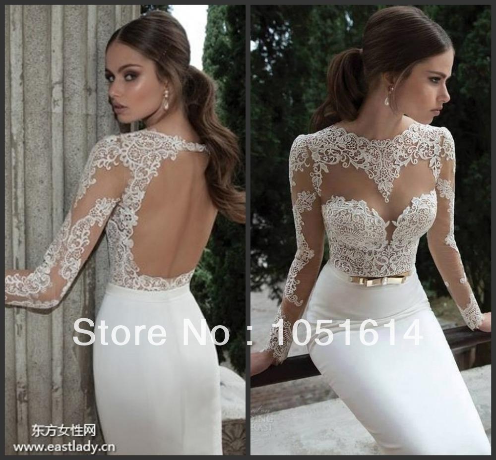 Aliexpress Buy Vestido De Noiva 2016 Sexy Open Back Lace Wedding Dresses Long Sleeve Lace
