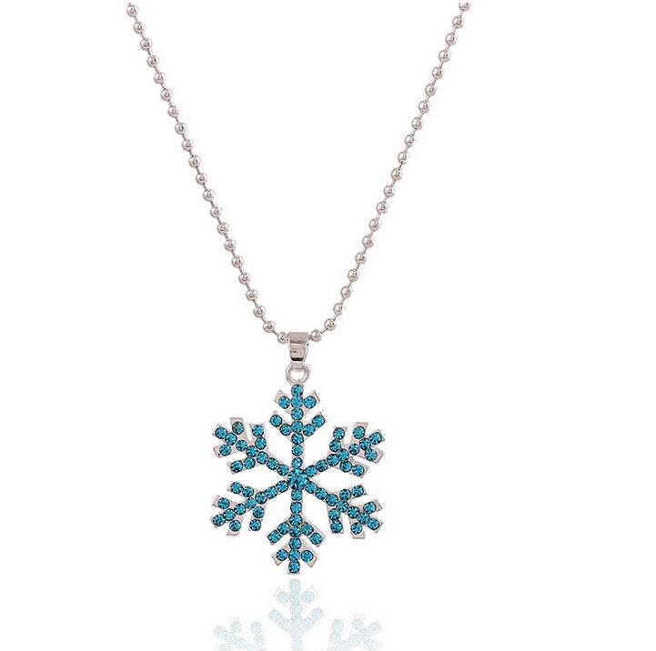 Snowflake Pendant Necklace Women Beaded Chain Crystal Bijoux Femme Long - MORABITO store